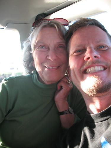 Mom and me in the birder van