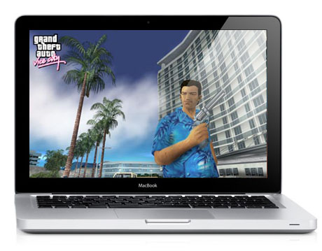 Simulación de GTA Vice City corriendo en un MacBook unibody bajo Mac OS X