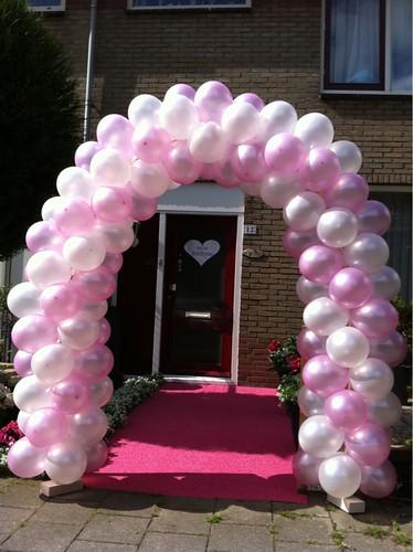 Ballonboog 5m Roze en Wit