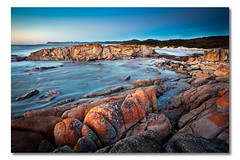 Friendly Beaches, Tasmania, Australia (Matthew Stewart | Photographer) Tags: ocean park autumn light red sea sky beach water rock clouds sunrise sand rocks sandy reserve australia july23 stewart national friendly beaches tasmania lichen penninsula freycinet
