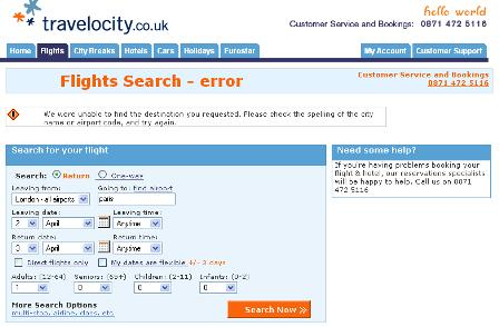 Travelocity error message