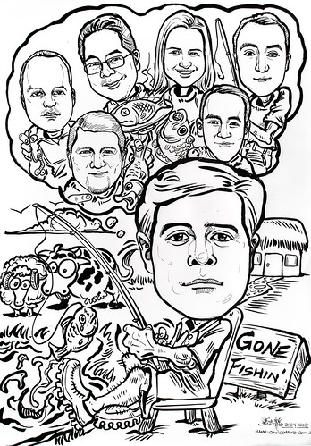 Group caricatures ink Deutsche Bank