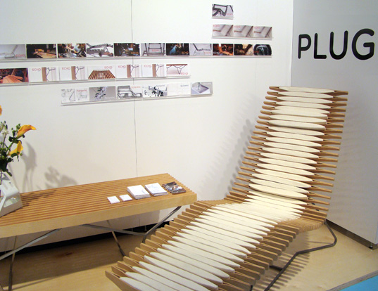 Echo Lounge Chair, Echo Lounge Chair ICFF, Plug Design ICFF 2008, International Contemporary Furniture Fair 2008, Inhabitat ICFF 2008, recycled wood chair, wool chair, customizable chair, customizable furniture, sustainable design furniture, sustainable design ICFF, sustainable design ICFF 2008