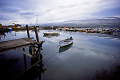 Mja (Sindri Svan) Tags: ocean blue water marina canon boat iceland dock skies small wideangle reflective waters 1022 akureyri mja onaleash