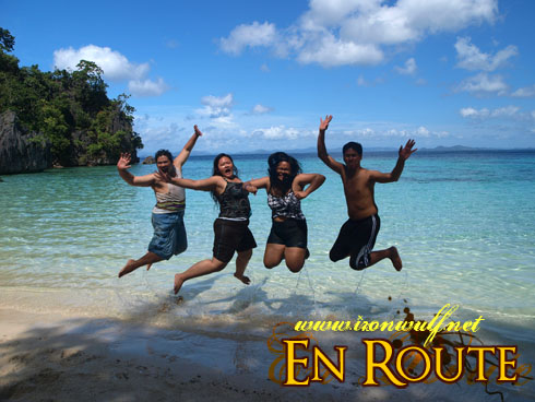 The group jump hug in coron