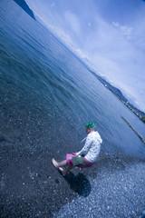 Wader 1. (masshuu) Tags: lake cold castle feet water switzerland lemon geneva geneve walk lac dandelion wade chateau dip vevey suiss