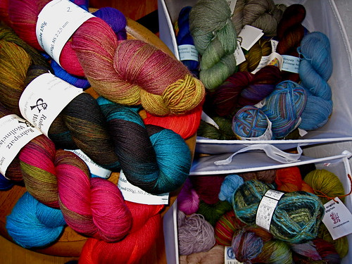 Sock yarns waiting in the wings