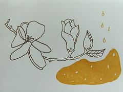 magnolia print (tiny happy) Tags: brown print gocco magnolia mustard artofthenotegocoswap