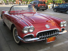1959 Red Chevrolet Corvette C1 Convertible (skeggy) Tags: show old cruise red usa classic cars chevrolet car night vintage spectacular photo illinois image grove sweet antique dupage convertible voiture tires vehicles chevy coche creativecommons oldtimer friday corvette automobiles tyres whitewall ragtop chicagoland downers droptop covertible 1car attributionnoncommercialsharealike