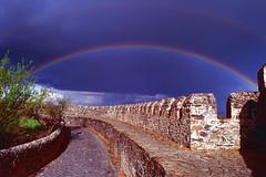 rainbow, bragança (valeriadalua) Tags: light sky storm castle portugal rainbow stones walls bragança