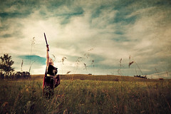 (crystalmarksphotography) Tags: blue boy red sky texture clouds sword cape sheild artlibre