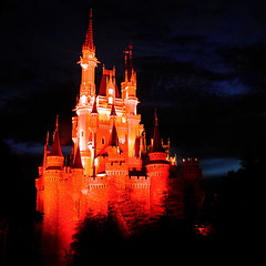 A Dream is a Wish Your Heart Makes (StartedByAMouse) Tags: light orange night square disney waltdisneyworld tomorrowland magickingdom cinderellacastle sbam 5stardisney