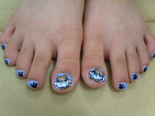 Hamster, animal, baby blie toe nail art