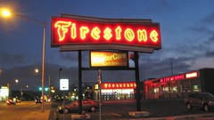 The Firestone Tire and Auto Center at Harlem and Sunnyside Avenues. Harwood Heights Illinois. August 2008.
