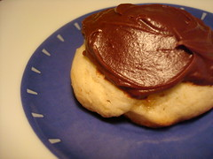 Chocolate-topped Banana shortbread cookies