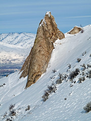 """Rocky Spire they call the """"Cock"""" below Rooster Comb's main rocky summit."""
