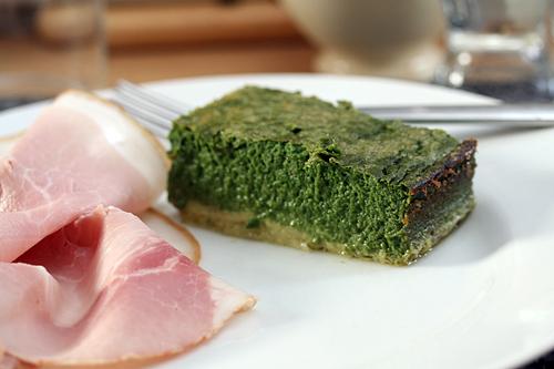 spinach cake & ham