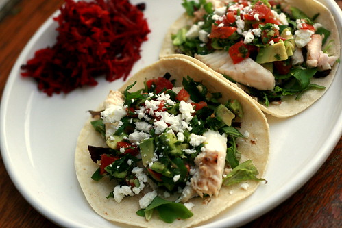 catfish tacos and beet + carrot salad