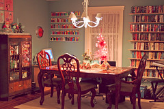 Dining Room (boopsie.daisy) Tags: christmas houses house pez tree home table cabinet library room gingerbread books betty dining shelves boop