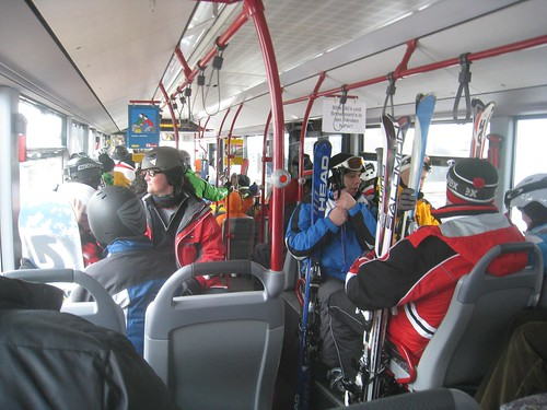 The second bus...full of skiiers and boarders