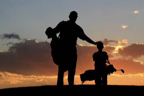 Family golf evening view of golf ground
