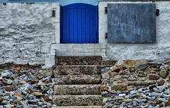 """blue gate"" hdr (coletracey) Tags: blue wales gate stones steps pebbles stonewall pembrokeshire hdr saundersfoot whitewashed bluegate saundersfootbeach"
