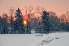 Winter Sunrise (Kathy~) Tags: winter snow sunrise michigan annarbor cw gamewinner bartondam photofaceoffplatinum pfogold pfoisland07a challengew herowinner agcgsweepwinner