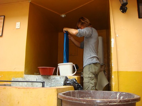 Doing the laundry at my Residential Sucre in Otavalo, Ecuador.