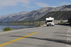 "The Alaska Highway at Muncho Lake British Columbia; JF Bergeron / Enviro Foto (""BC Lodging"") Tags: camping camp mountain lake mountains driving bc britishcolumbia backcountry rv camper enroute alaskahighway muncholake northernbritishcolumbia"