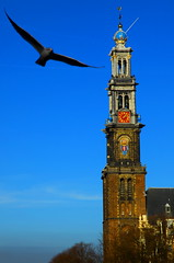 Giant birds attacking westertoren. (kees straver (will be back online soon friends)) Tags: street city holland tower church water netherlands amsterdam bike bicycle boat canal europe nederland crown prinsengracht jordaan westertoren westerkerk giantbirds keesstraver