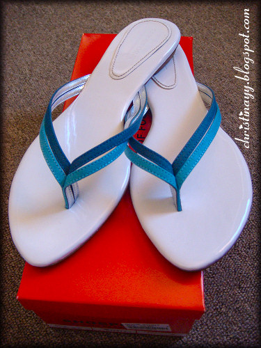 White and Blue Thong Sandals