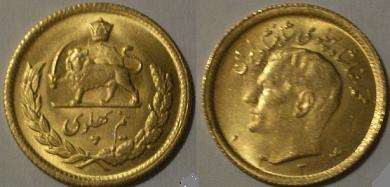 1955 Iran Gold Coin M.R.Shah 1-2 PAHLAVI 1334