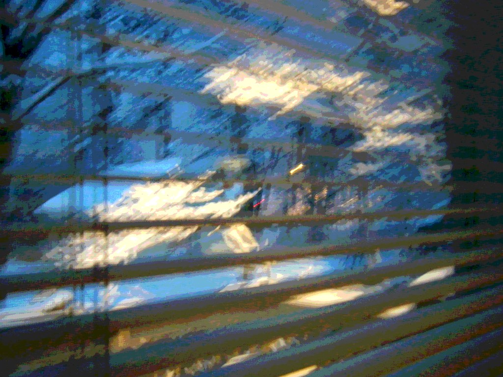 Snowy Night Through Blinds  (Posterized)