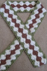 crochet green pink & white scarf