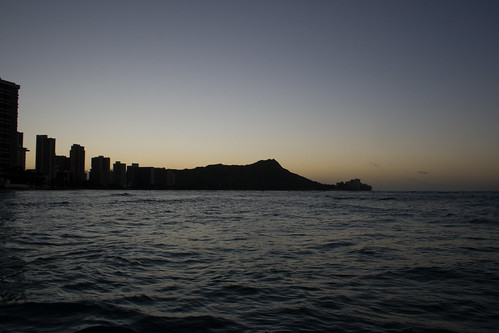 Beginning of a Sunrise over Diamond Head