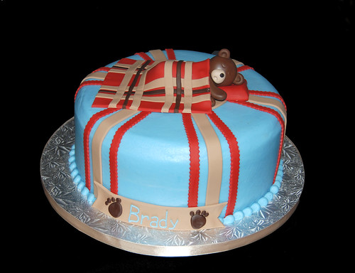 sleeping bear blue brown and red baby shower cake