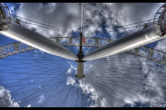 HDR of London Eye Looking Up (Jonathan.Russell) Tags: blue light sky white london eye wheel thames canon river circle landscape exposure shutter hdr 40d