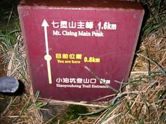 七星山里程碑 目前位置0.8km