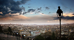 Paris (VeNiVi) Tags: blue sunset sky paris clouds darkroom photoshop horizon roofs bleu ciel nuages retouching coucherdesoleil lampadaire overview toits retouche awesomepictures platinumheartaward