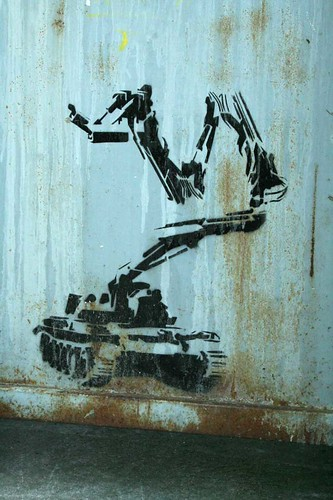 Tank with watch camera stencil, ?