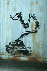 Tank with watch camera stencil, ? (SpUtNik 23 -RUR und MKZ) Tags: street camera france art saint stencil watch unknown etienne pochoir delire stenciler securitaire