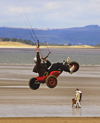 Catching Some Air. (M.R.7) Tags: explore gower wfc kitebuggy broughtonbay mhr pentaxk100d welshflickrcymru mikerees