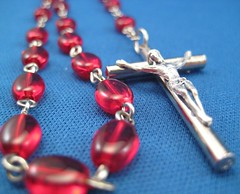 Garnet Oval Glass Rosary