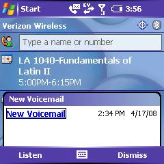 Treo Voicemail Popup
