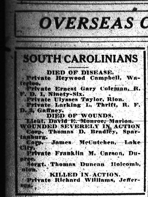 Casualty List 10131918 WWI by RCPL_SC