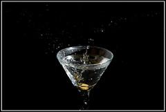 Plunk (netpunk85) Tags: black macro wet water glass night droplets drops nikon close flash sb600 olive martini backdrop setup splash liquid f11 vr cls lightroom plunk kerplunk 18200mm sploosh d80 netpunk85