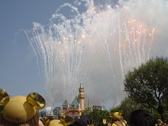 Daytime fireworks on Disneyland's 50th Birthday. (07/17/2005)