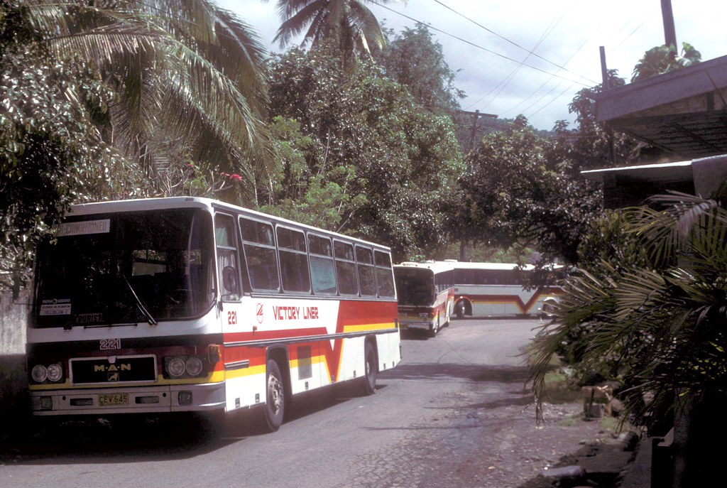Victory Liner M.A.N 16.290 CEV-645 (fleet No 221) and 2 other coaches outside Falls Lodge, Pagsanjan, Philippines.