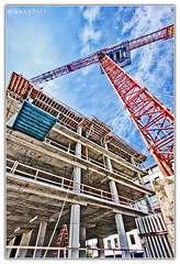 Building Up (Max Kehrli) Tags: blue red sky lines june canon concrete construction crane space bermuda limited hdr 1022 converging 5631 40d