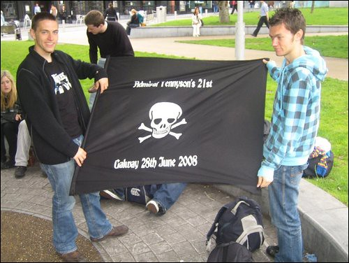 Me and ian with the pirate flag